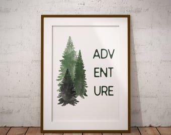 Adventure Trees Rustic Watercolor Printable