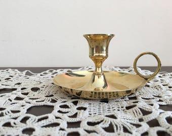 Vintage French Candleholder - Old Brass Candlestick - Vintage  brass Candlestick -