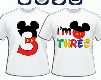 Mickey Mouse 3rd Birthday, diy Mickey Mouse Birthday Shirt, Printable Mickey Mouse Iron on transfer, Mickey Mouse Number