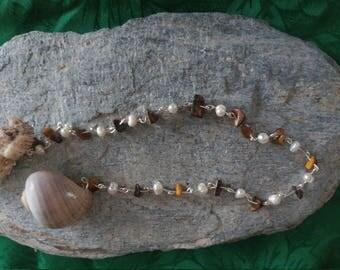 Handmade Dowsing Pendulum - Shell, Pearl, Tiger's Eye
