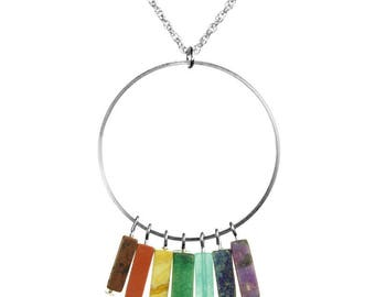 Chakra Semiprecious Fringe Silver Necklace
