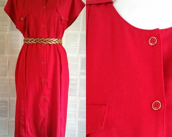 Red Vintage Day Dress - Size 18