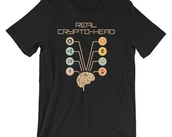 Cryptocurrency T-Shirt UNISEX Crypto-Head Bitcoin Ethereum Litecoin Dash Iota Shirt Gift for Crypto Trader