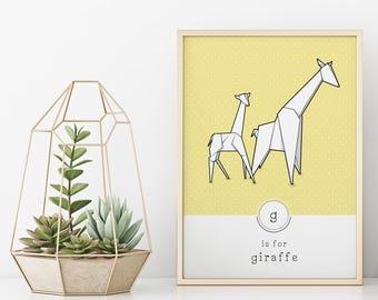 Contemporary Giraffe Print, Origami Wall Art, Geometric Giraffe Art, Kids Giraffe Print, Pastel Nursery Art, Scandinavian Nursery Print