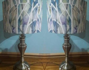 Pair of Voyage Fabric Lampshades made with Voyage Woodbury Skylark Fabric Drum Light Shade UK Lamp