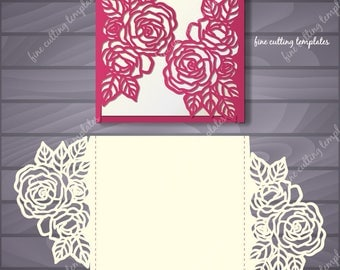 Roses Wedding Luxury Card Template for cutting file (svg, dxf, ai, eps, png, pdf, studio3). Instant Download.
