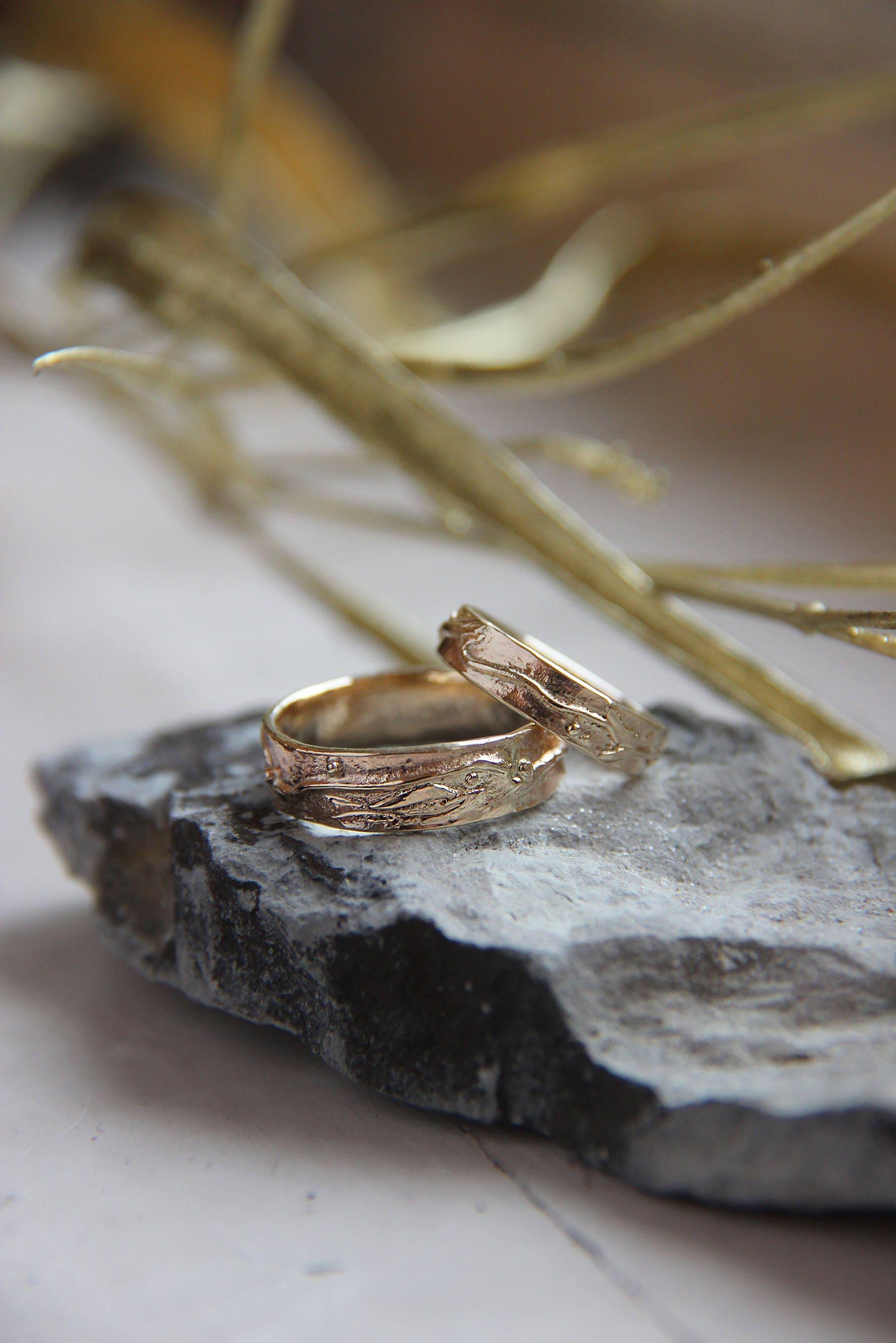 Unique wedding bands gold wedding ring textured wedding ring