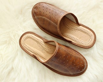 New men natural leather slippers