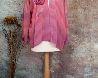 New bespoke silk kimono jacket,haori,silk evening coat,hand painted silk,embroidered rose,flower girl screenprint,ombre colours.