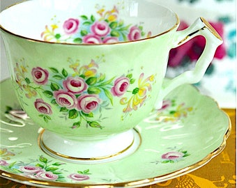 Aynsley Green Pink Flowers Teacup and Saucer Bone China England