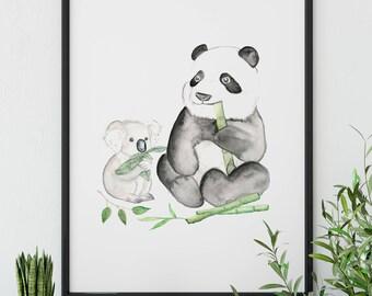 Printable Watercolor Nursery panda print, Koala, Panda Gift, Friendship Gift, Best Friend Gift, Instant Download, Couple, Foodie Gift