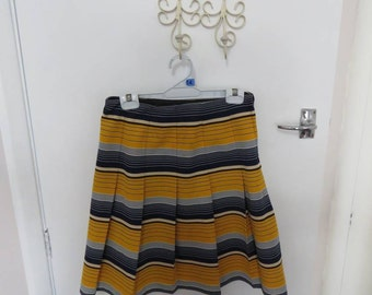 Yellow and blue stripe mini skirt, blue and gold cheerleader Riverdale pleated skirt