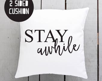 stay awhile, modern cushion, minimal pillow, throw pillows