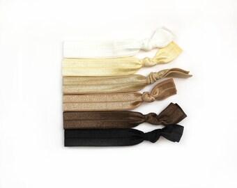 Neutral Elastic Hair Ties, Neutral Hair Ties, Elastic Hair Ties, Ponytail Holder, Hair Ties, No Crease Hair Ties, Hair Accessories, Hair Tie
