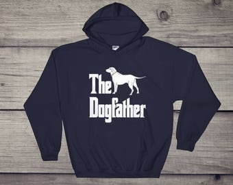 The Dogfather hooded sweatshirt, Labrador silhouette, funny dog gift hoodie, The Godfather parody, dog lover sweater, dog gift
