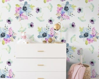 Pastel Pink & Purple Watercolor  Removable Wallpaper, Wall Mural, Self-Adhesive, Reusable, Peel and Stick #15