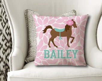 Girl HORSE PILLOW, Girl Name Pillow, Horse Nursery Decor, Horse Bedroom, Girl Horse Bedding, Pillow Cover or With Insert, Pillowcase