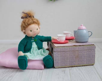 Waldorf doll girl clothes Blond hair soft rag doll Steiner doll Birthday gift for granddaughter Textile cloth Organic toy 1st doll for girl