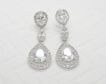 Marigold Cubic Zirconia Drop Earrings - Silver CZ Dangle Earrings, Crystal Earrings, Bridesmaid Earrings, Bridal Earrings, Wedding Jewelry