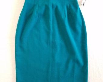 Vintage 1980s Modiano teal midi pencil skirt