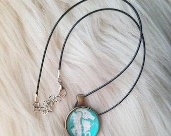 Hand Painted Necklaces Mermaid, seahorse, beach theme gift ideas