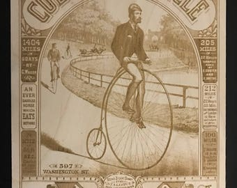 Antique Advertisement Bicycle Engraving!  Wood Wall Art Columbia Bicycle.  Penny Farthing.