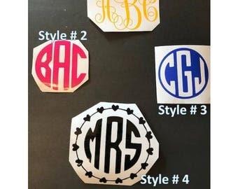 Monogram Decal | Vinyl Monogram Decal | 3 Letter Monogram | Yeti Decal | Car Decal | Vinyl Laptop Decal | Water Bottle Monogram