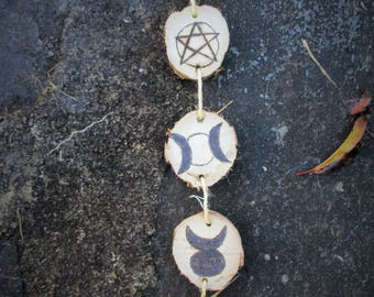 Wiccan witch, vintage inspired, symbols pyrographed in wood • Wiccan witch, vintage inspiration, pyrography symbols in wood • Witch, Pagan