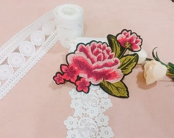 peony patch/rose patch/iron on patch/embroidered /flower/gorgeous/for jacket /applique