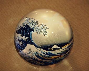 The Great Wave off Kanagawa Paperweight, Katsushika Hokusai, Artistic Gift, Glass Art