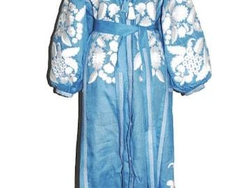 Embroidered boho dress Linen Grapevine Ukrainian Dresses Vyshyvanka Custom Ethno Garment Folk Embroidery