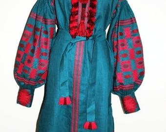 Mexican Dress Ukrainian Embroidery Bohemian Clothing Vishivanka Vyshyvanka Woman Boho Style Embroidered Dresses Fashion Ukraine Green linen