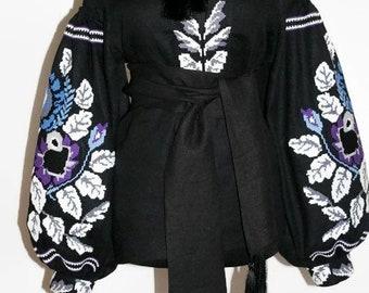 Ukrainian Blouse Vyshyvanka Woman Bohemian Clothing Vishivanka Custom Embroidery Boho Clothes Mexican Blouses Ethnic Ukraine Shirt Black