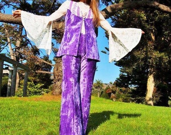 Vintage 70s Lilac velvet flares and waistcoat