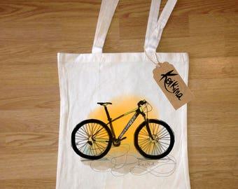 Mountain Bike bag fabric, tote bag Koikima Store, illustration, woman bag, man bag, cotton bag, natural, gift, tote bag