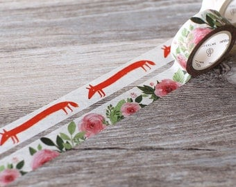 Secret Garden washi tape,fox tape, poppy masking tape, pink floral washi tape,planner Diary decoration