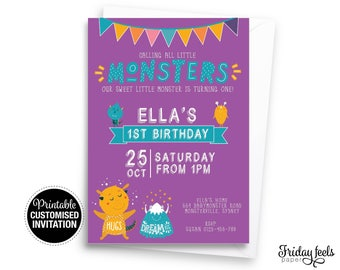 Calling All Monsters Birthday Invitation, girls 1st birthday boy first birthday invite customized digital printable