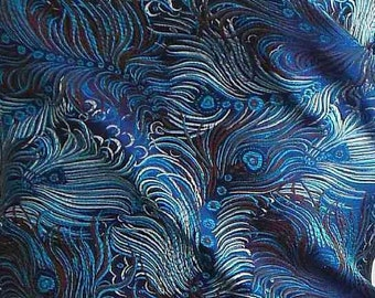 Chinese brocade satin fabric material dancing peacock feather on blue embroidered by the 0.5 YARDS, Yards Meters cbs 11