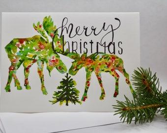 Christmas card, Watercolor Christmas card, Holiday card, A7 card, Moose, Seasonal card, Wildlife card