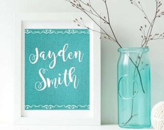 Custom Name. Nursery Print. Personalized Names.