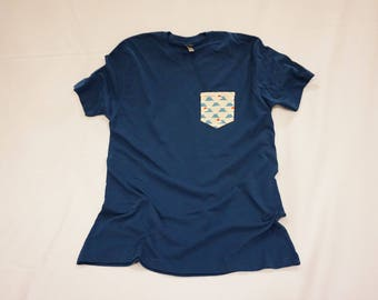 The Japanese Mt. Fuji Pocket Tee - Blue