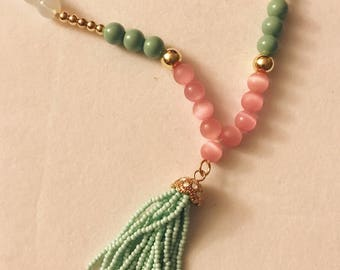 Mala Beads with Beaded Tassel Necklace, Multi-Colored Beaded Necklace, Tassel Necklace, Handmade Necklace, Pink, Turquoise, Gold