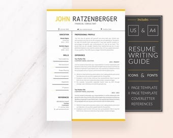 Professional Resume Template | Resume Template for Word | CV Template + Cover Letter & References | Modern Resume | Instant Download | JOHN