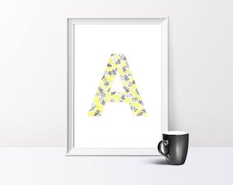 A, Alphabet, Watercolour Illustration, A4/A5  Print