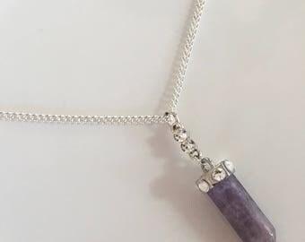 Purple Gemstone Necklace, Amethyst Gemstone Necklace, Amethyst Pendant Jewelry, Amethyst Crystal Necklace, Amethyst Pendant Necklace