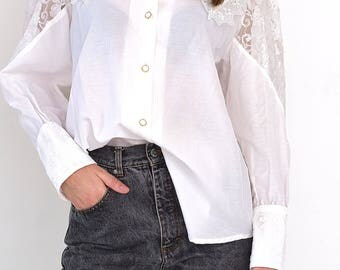 VINTAGE White Floral Long Sleeve Retro Shirt