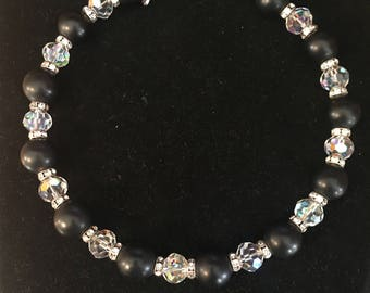Vintage Vendome by Coro Black and Crystal beading choker necklace, rinestone spacers- super fun piece!