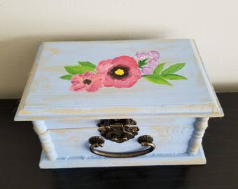 Hand painted wooden trinket box