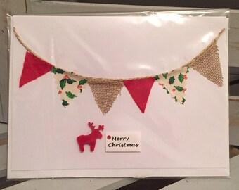 5x Christmas Cards: Christmas bunting