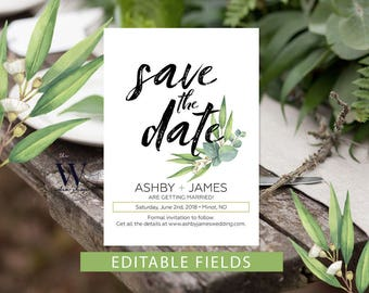 Greenery Save The Dates Template, Printable Save the Date, Save Our Date, Easily edited in Adobe Acrobat, Eucalyptus save the date
